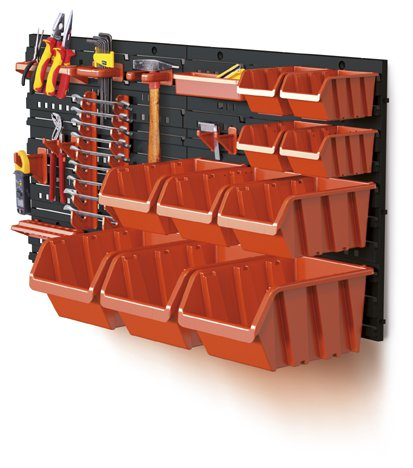 Wall storage set for tools and boxes